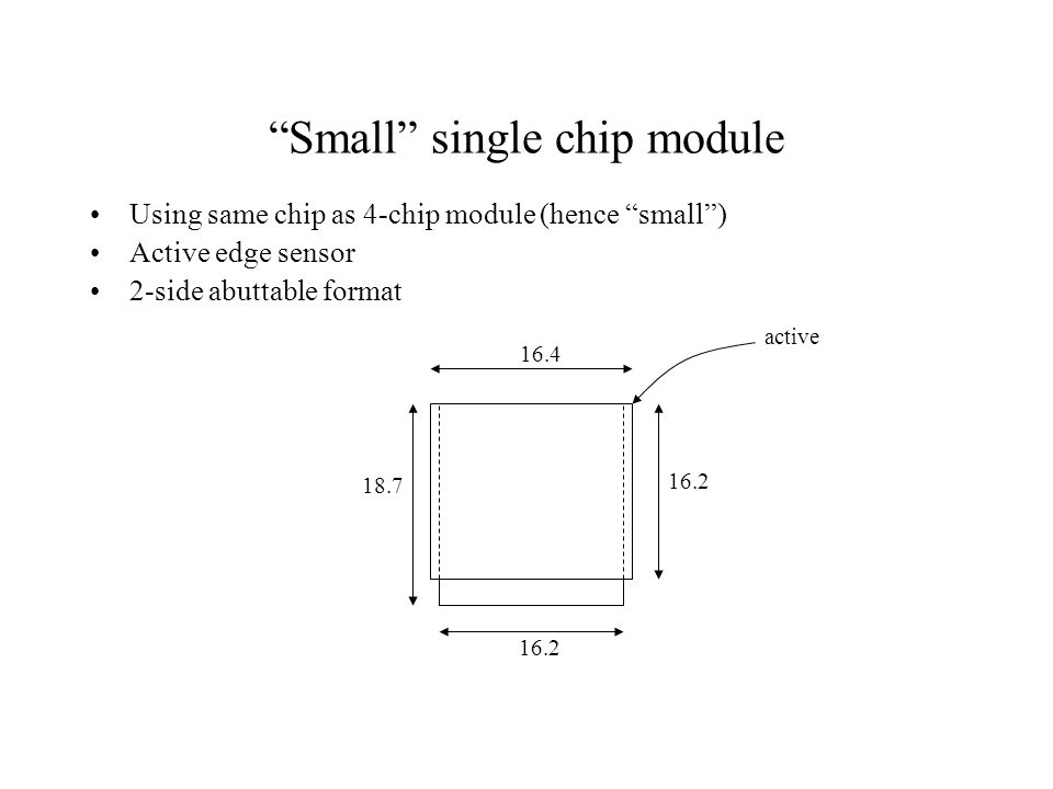 Small single chip module Using same chip as 4-chip module (hence small ) Active edge sensor 2-side abuttable format 16.4 16.2 18.7 active