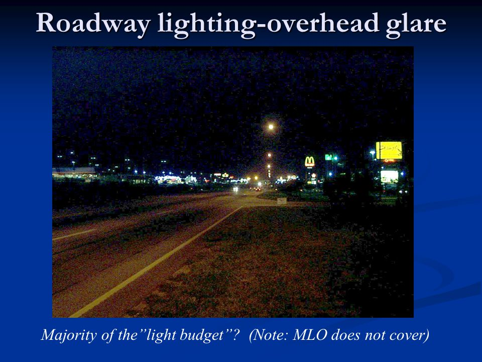 """Roadway lighting-overhead glare Majority of the""""light budget""""? (Note: MLO does not cover)"""