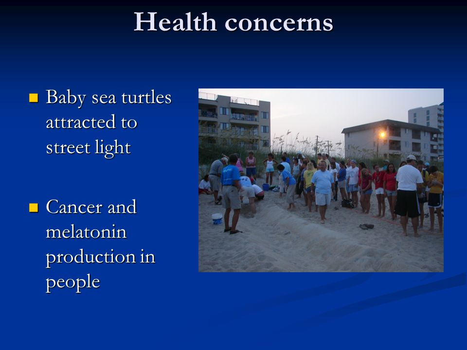 Health concerns Baby sea turtles attracted to street light Baby sea turtles attracted to street light Cancer and melatonin production in people Cancer and melatonin production in people