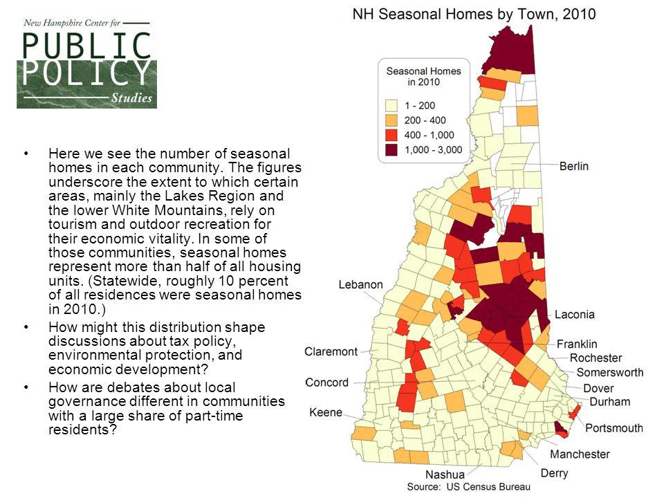 Here we see the number of seasonal homes in each community.