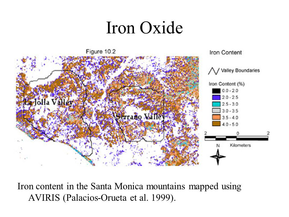 Iron Oxide Iron content in the Santa Monica mountains mapped using AVIRIS (Palacios-Orueta et al. 1999).