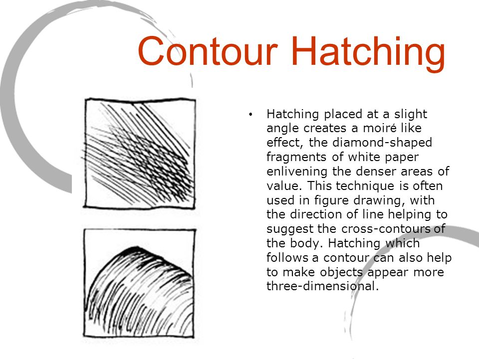 Contour Hatching Hatching placed at a slight angle creates a moir é like effect, the diamond-shaped fragments of white paper enlivening the denser areas of value.