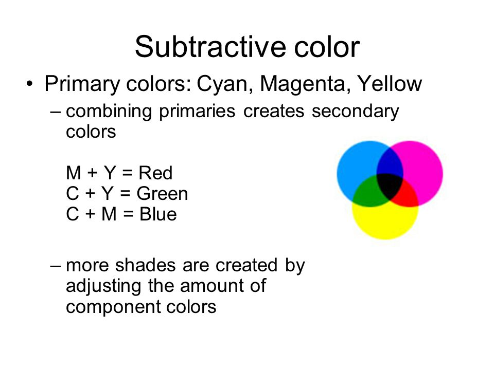 Subtractive color Primary colors: Cyan, Magenta, Yellow –combining primaries creates secondary colors M + Y = Red C + Y = Green C + M = Blue –more shades are created by adjusting the amount of component colors