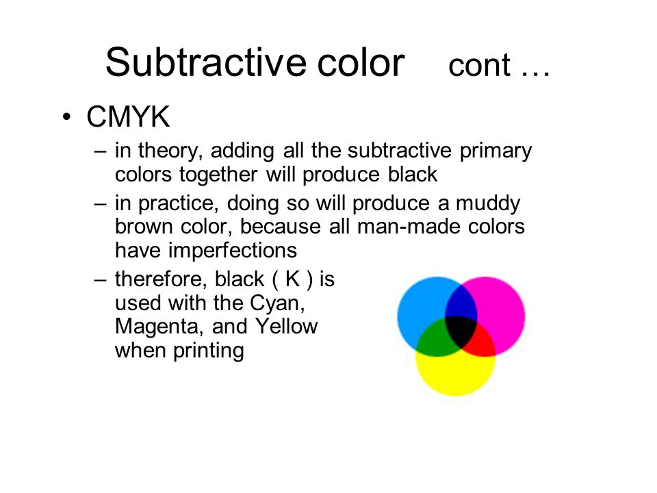 Subtractive color cont … CMYK –in theory, adding all the subtractive primary colors together will produce black –in practice, doing so will produce a