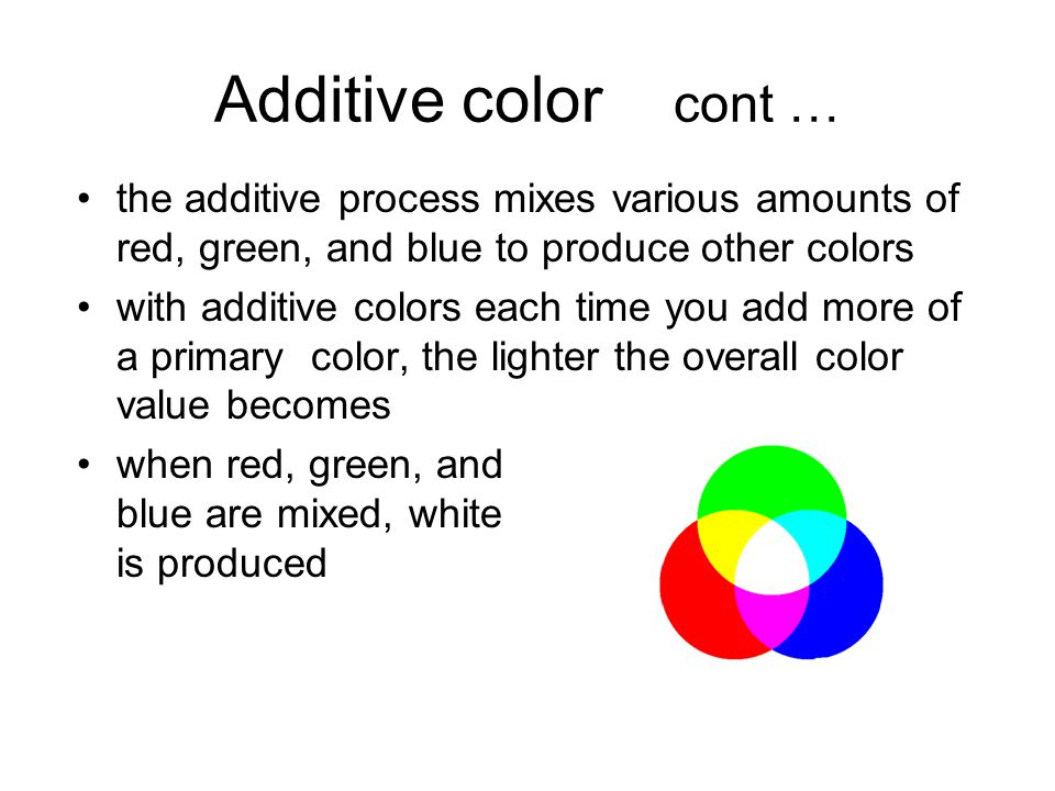 Additive color cont … the additive process mixes various amounts of red, green, and blue to produce other colors with additive colors each time you ad