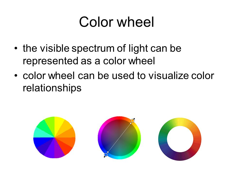 Color wheel the visible spectrum of light can be represented as a color wheel color wheel can be used to visualize color relationships