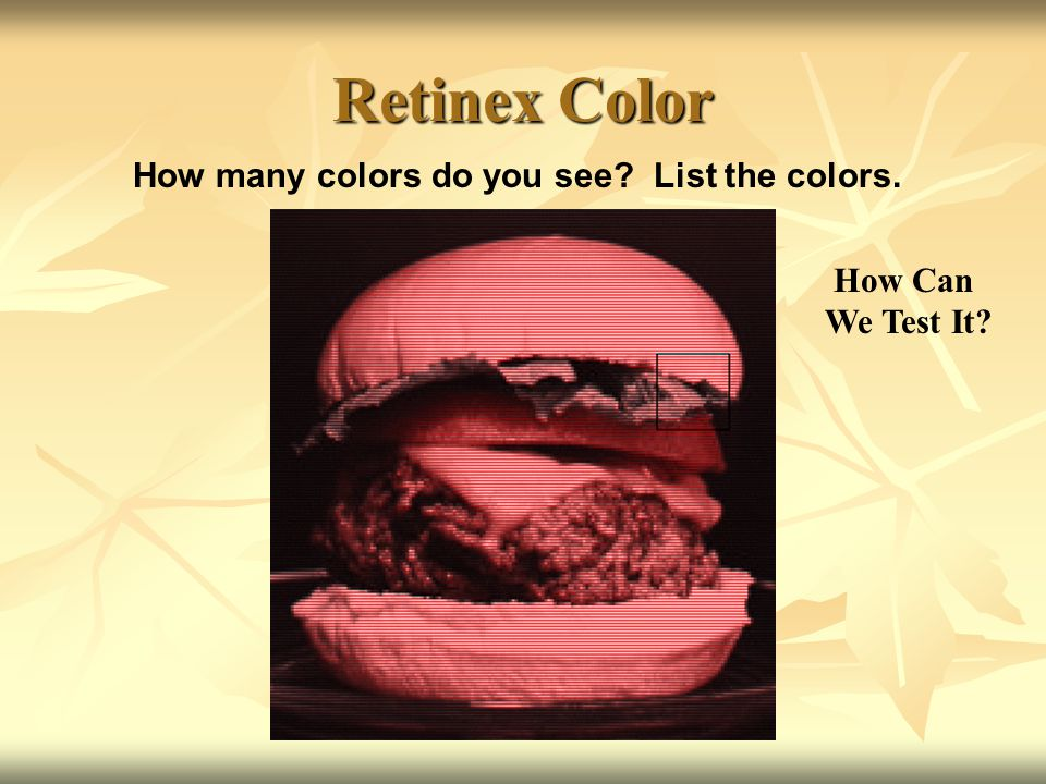 Retinex Color How many colors do you see? List the colors. How Can We Test It?