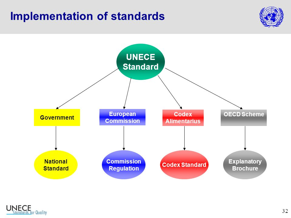32 UNECE Standard European Commission Codex Alimentarius Commission Regulation Codex Standard Explanatory Brochure OECD Scheme Government National Standard Implementation of standards