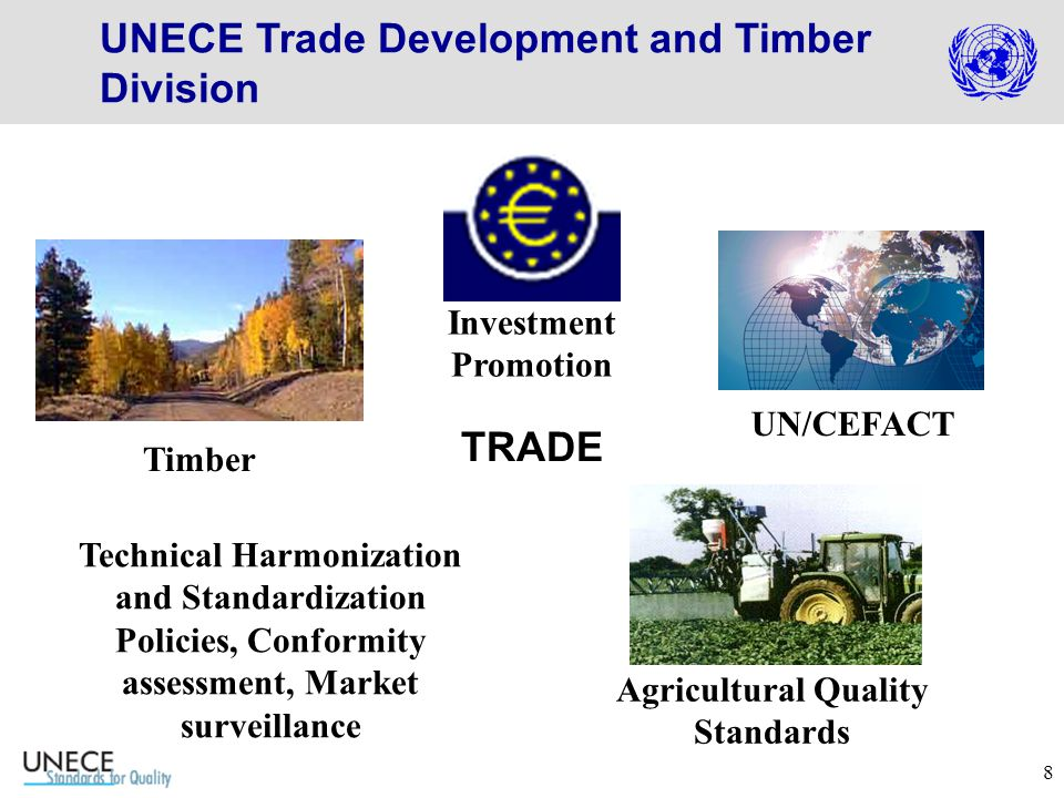 8 TRADE UN/CEFACT Investment Promotion Timber Agricultural Quality Standards Technical Harmonization and Standardization Policies, Conformity assessment, Market surveillance UNECE Trade Development and Timber Division