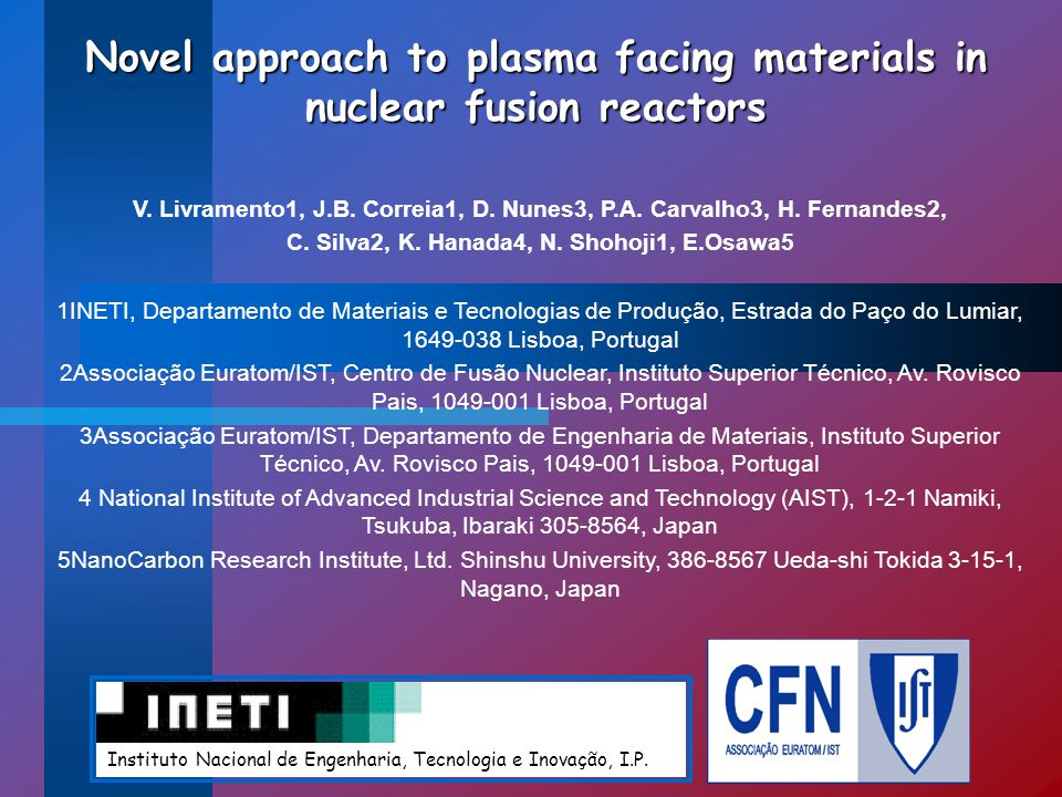 Novel approach to plasma facing materials in nuclear fusion reactors V.