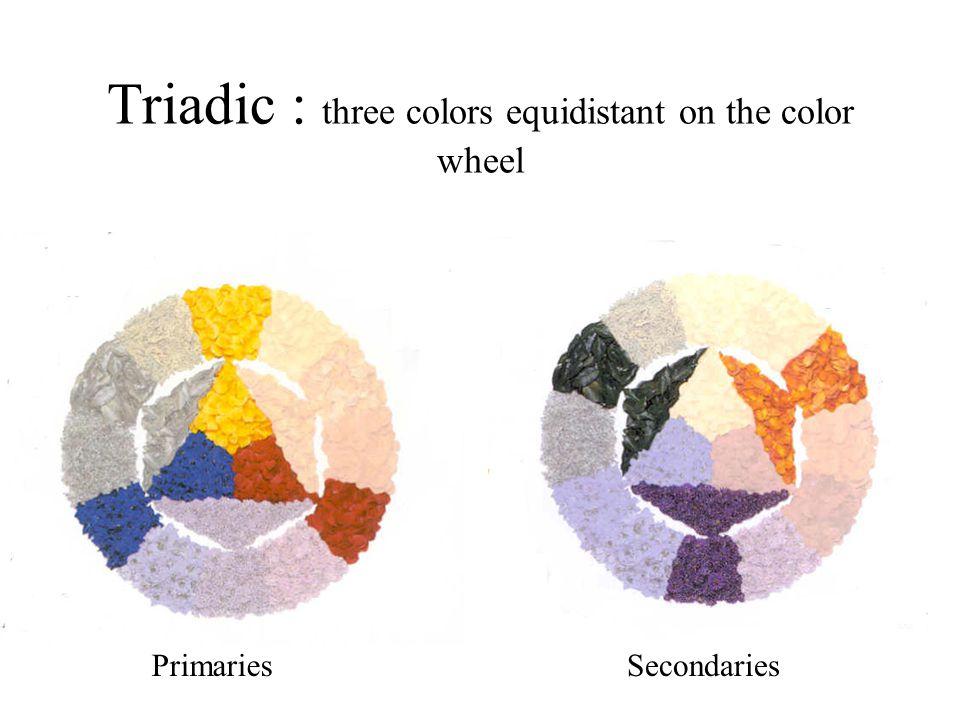 Triadic : three colors equidistant on the color wheel PrimariesSecondaries