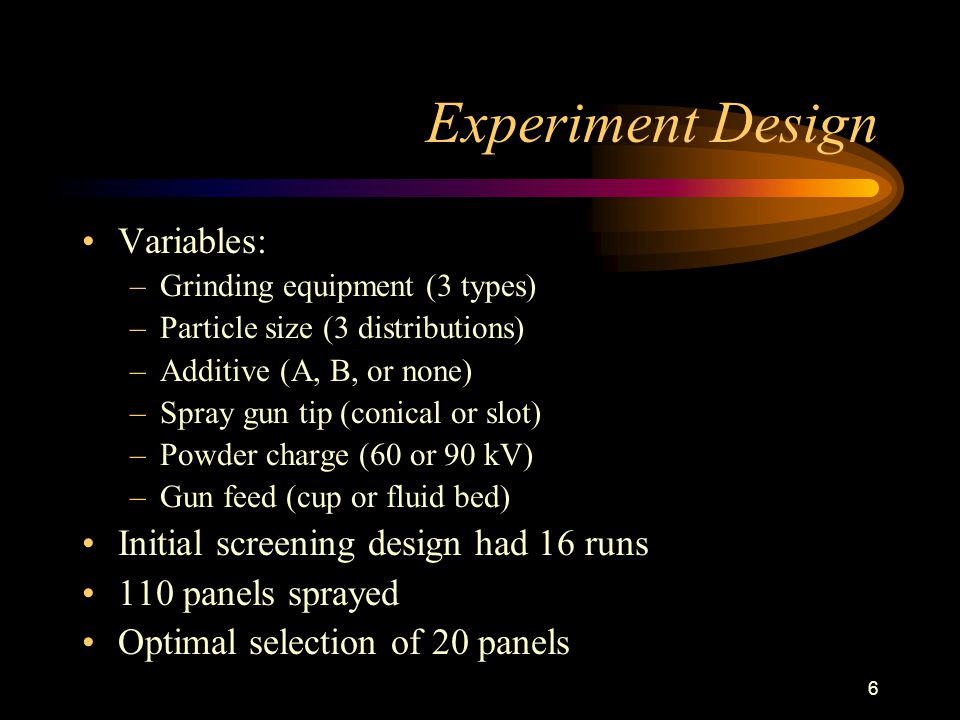 6 Experiment Design Variables: –Grinding equipment (3 types) –Particle size (3 distributions) –Additive (A, B, or none) –Spray gun tip (conical or slot) –Powder charge (60 or 90 kV) –Gun feed (cup or fluid bed) Initial screening design had 16 runs 110 panels sprayed Optimal selection of 20 panels