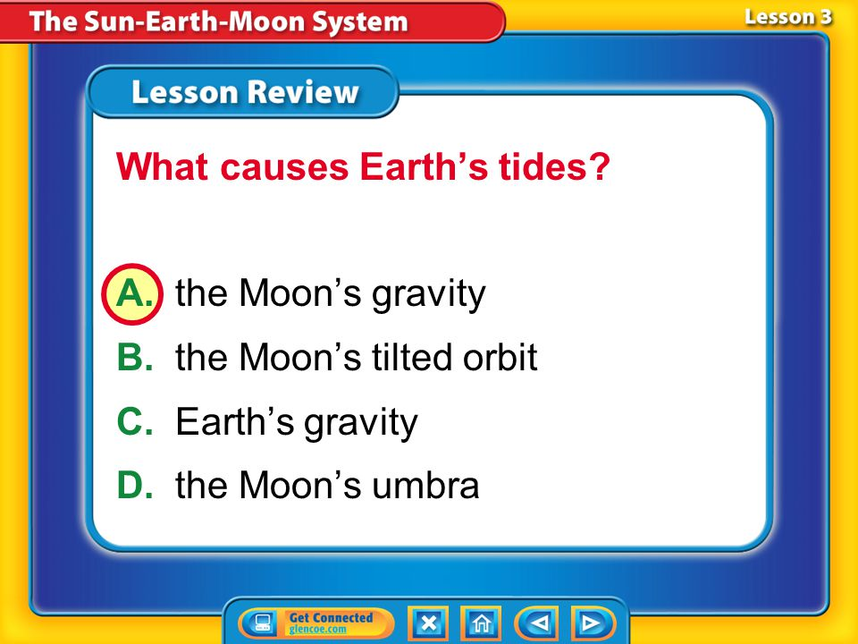 Lesson 3 – LR1 A.lunar eclipse B.tide C.solar eclipse D.neap tide If the Moon's shadow appears on Earth's surface, which of these is occurring?
