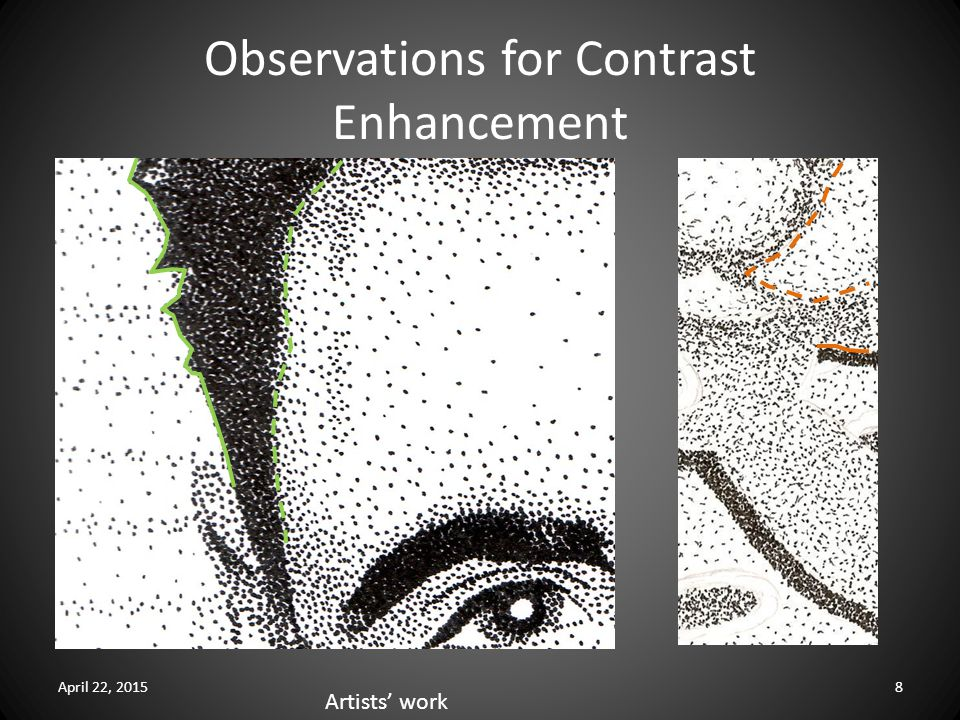 Observations for Contrast Enhancement April 22, 20158 Artists' work