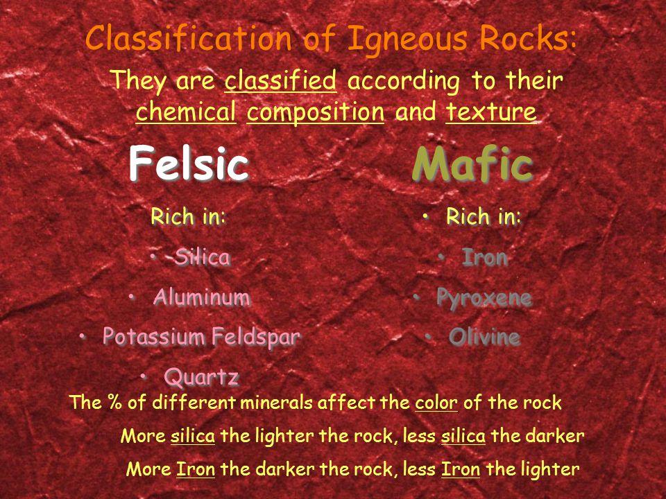 Felsic Rich in: Silica Aluminum Potassium Feldspar Quartz Felsic Rich in: Silica Aluminum Potassium Feldspar Quartz Mafic Rich in: Iron Pyroxene Olivi