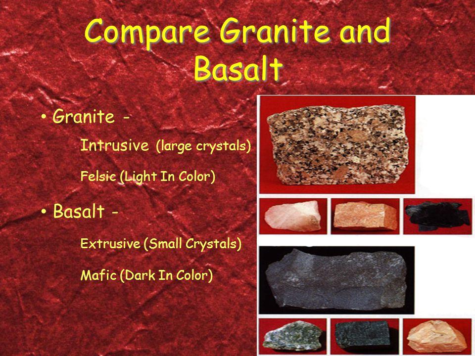 Compare Granite and Basalt Granite - Intrusive (large crystals) Felsic (Light In Color) Basalt - Extrusive (Small Crystals) Mafic (Dark In Color)