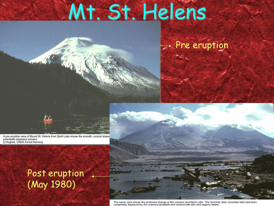 Mt. St. Helens Pre eruption Post eruption (May 1980)