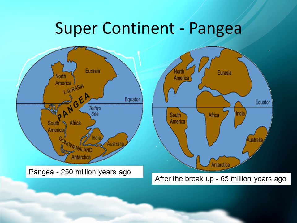 Super Continent - Pangea After the break up - 65 million years ago Pangea - 250 million years ago