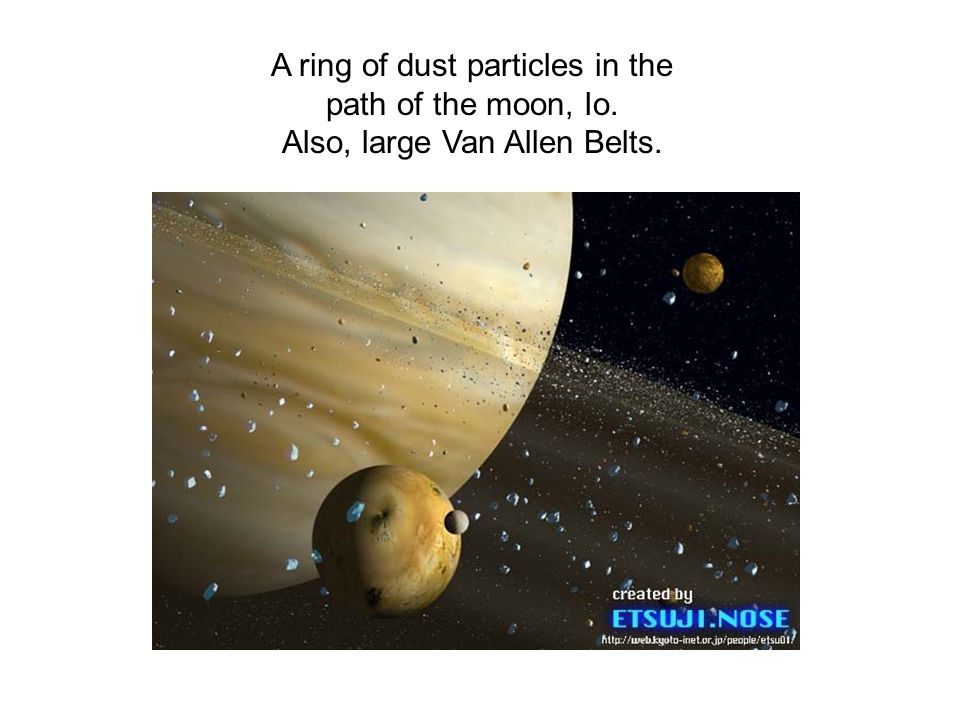 A ring of dust particles in the path of the moon, Io. Also, large Van Allen Belts.