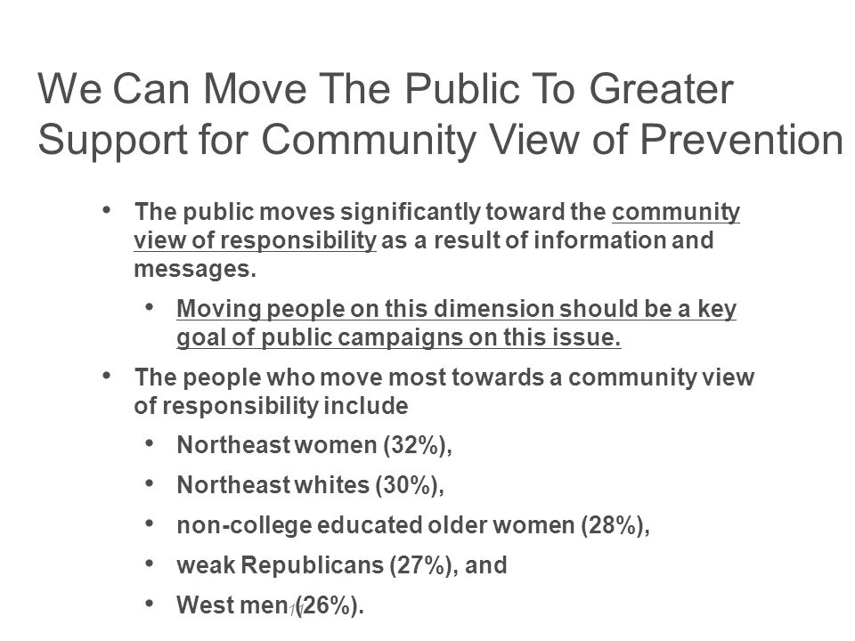 11 The public moves significantly toward the community view of responsibility as a result of information and messages.