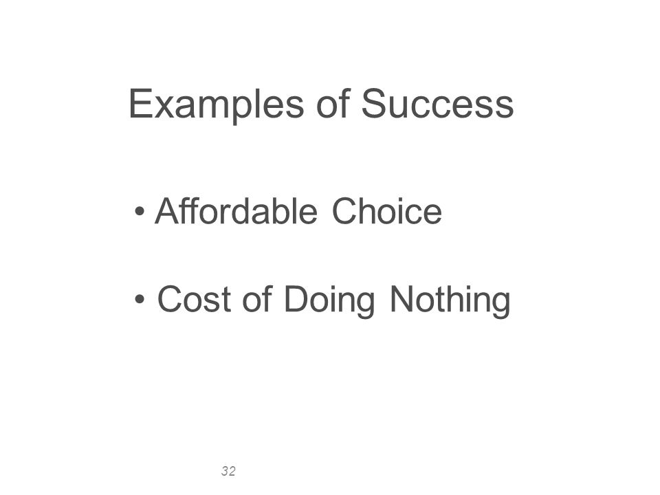 32 Examples of Success Affordable Choice Cost of Doing Nothing
