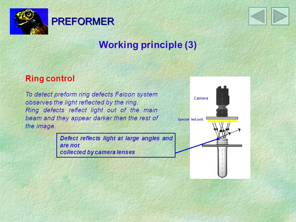 PREFORMER Working principle (3) Ring control To detect preform ring defects Falcon system observes the light reflected by the ring.