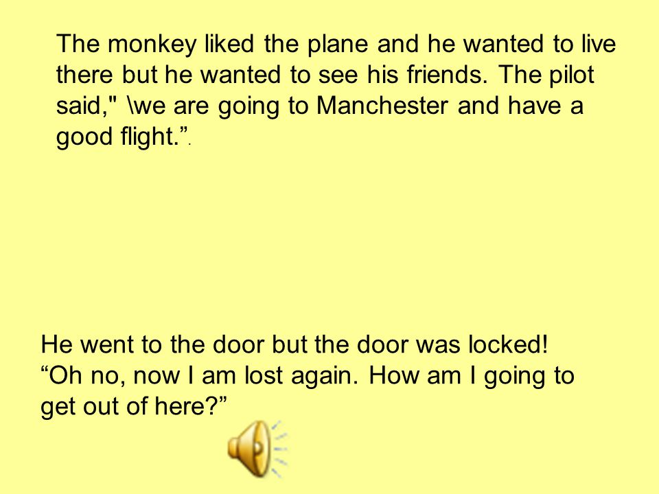 The monkey liked the plane and he wanted to live there but he wanted to see his friends. The pilot said,