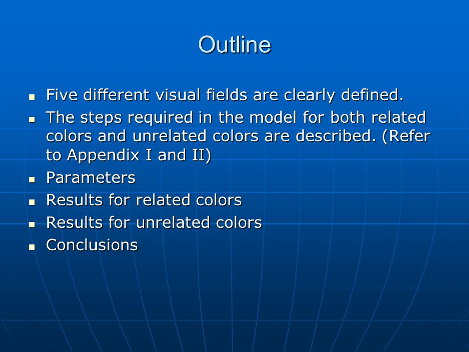 Outline Five different visual fields are clearly defined. Five different visual fields are clearly defined. The steps required in the model for both r