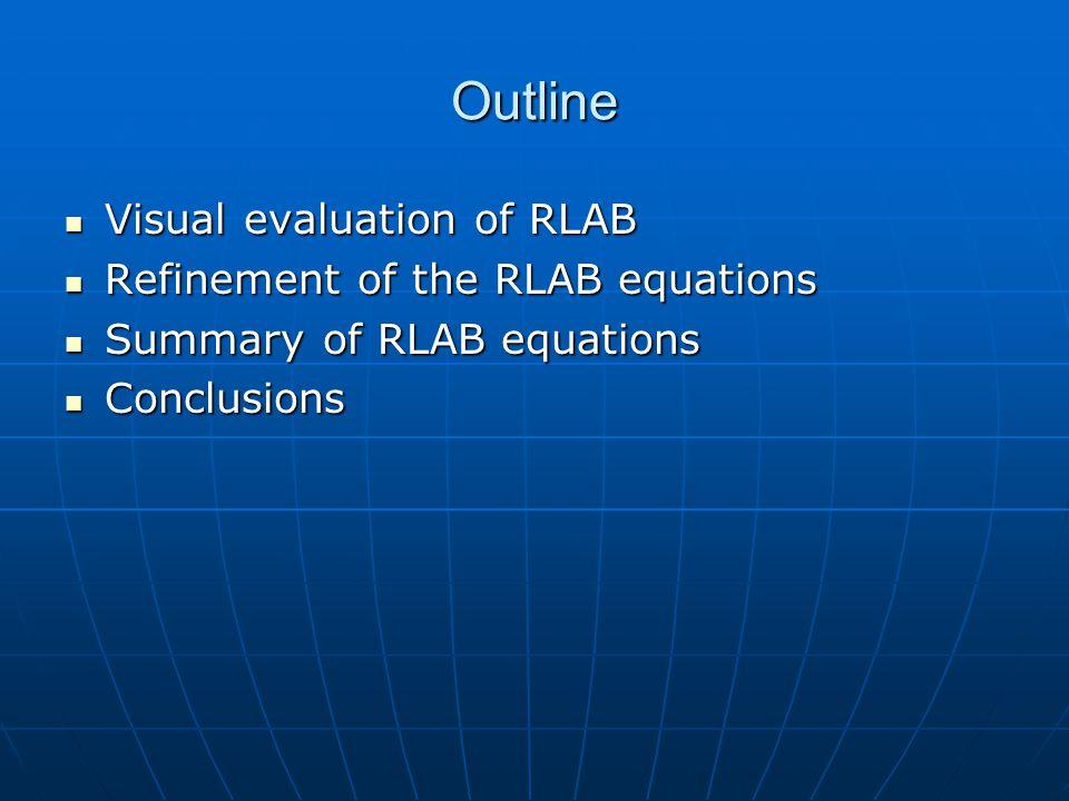 Outline Visual evaluation of RLAB Visual evaluation of RLAB Refinement of the RLAB equations Refinement of the RLAB equations Summary of RLAB equation