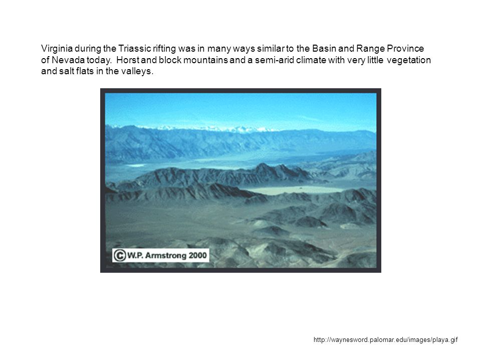 http://waynesword.palomar.edu/images/playa.gif Virginia during the Triassic rifting was in many ways similar to the Basin and Range Province of Nevada