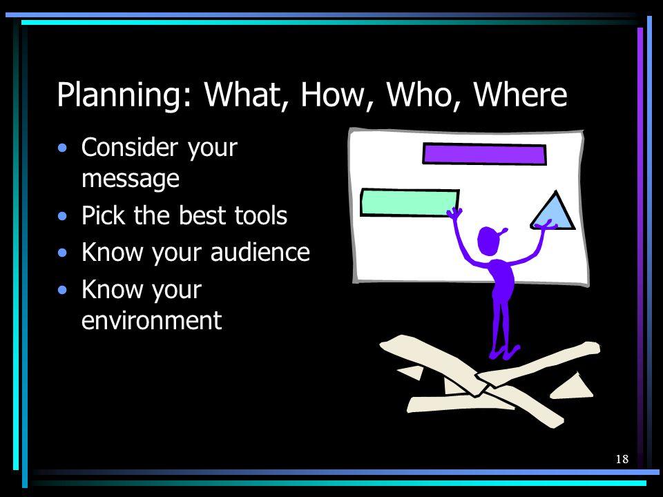 17 Presentation: 4 P's 1. Planning 2. Preparation 3. Practice 4. Presentation