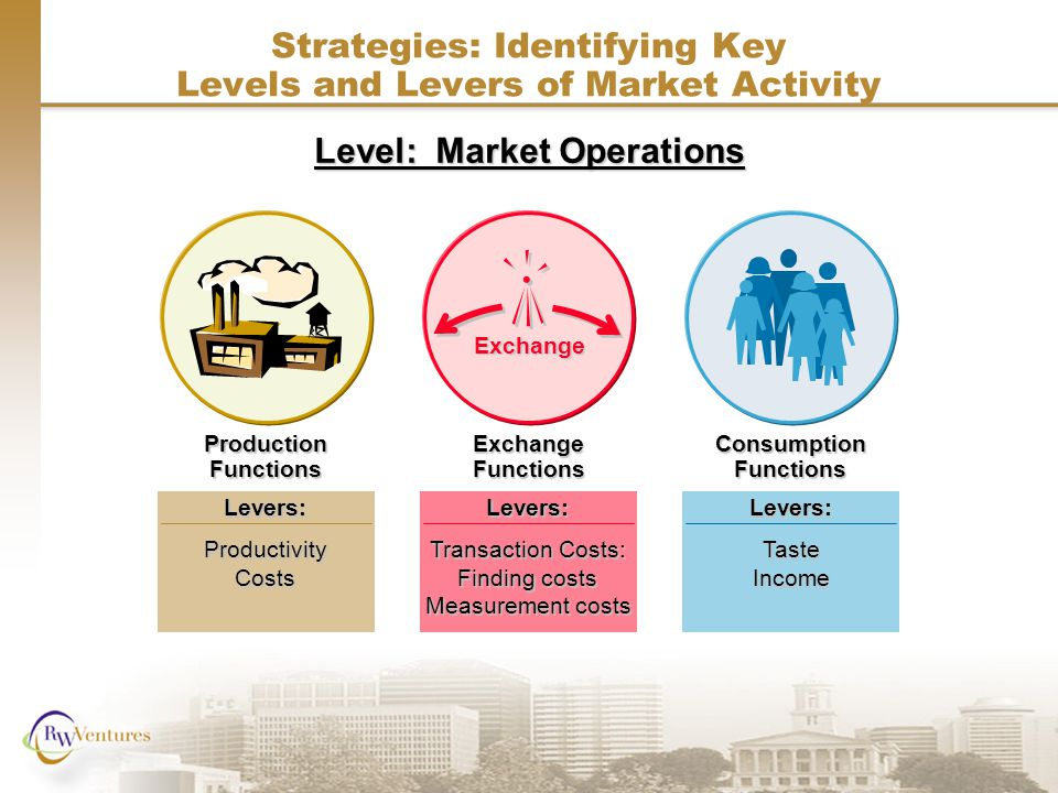 Production Functions Levers:ProductivityCosts Exchange Levers: Transaction Costs: Finding costs Measurement costs Exchange Functions Levers:TasteIncome Consumption Functions Strategies: Identifying Key Levels and Levers of Market Activity Level: Market Operations