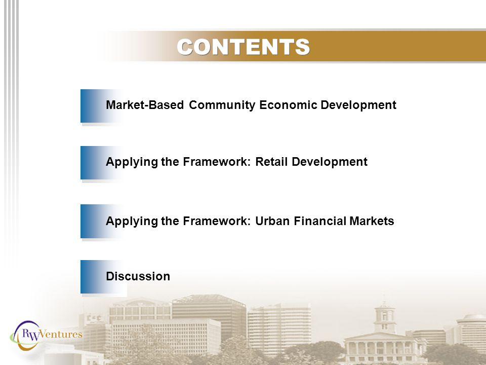 CONTENTS Applying the Framework: Retail Development Market-Based Community Economic Development Applying the Framework: Urban Financial Markets Discussion