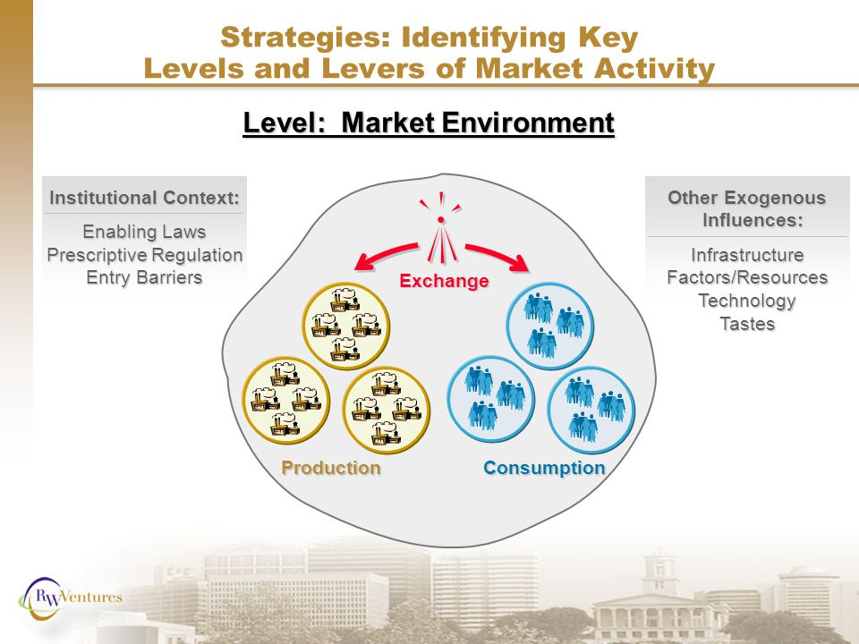 Other Exogenous Influences: InfrastructureFactors/ResourcesTechnologyTastes Institutional Context: Enabling Laws Prescriptive Regulation Entry Barriers Strategies: Identifying Key Levels and Levers of Market Activity Exchange ProductionConsumption Level: Market Environment