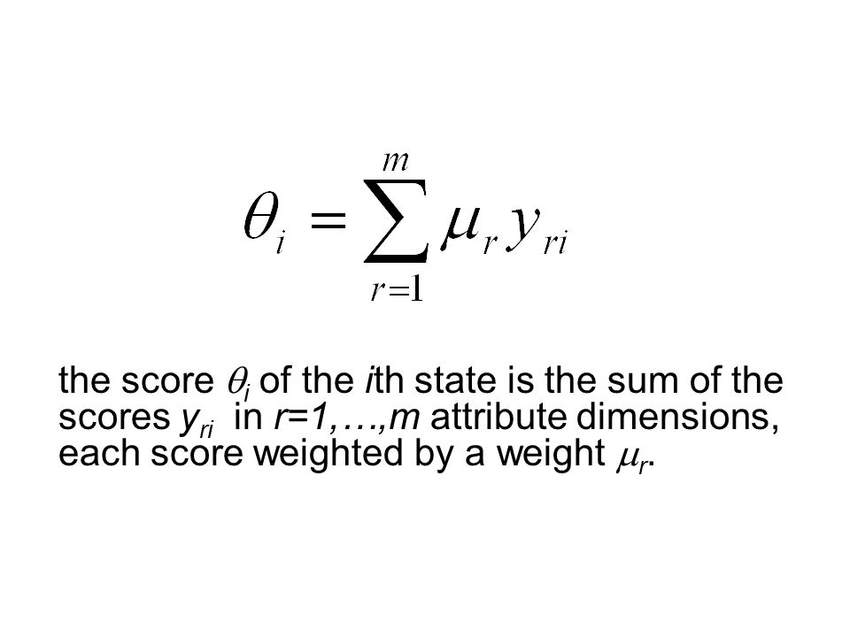 the score  i of the ith state is the sum of the scores y ri in r=1,…,m attribute dimensions, each score weighted by a weight  r.,