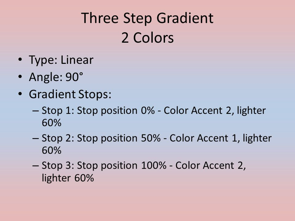 Three Step Gradient 2 Colors Type: Linear Angle: 90° Gradient Stops: – Stop 1: Stop position 0% - Color Accent 2, lighter 60% – Stop 2: Stop position 50% - Color Accent 1, lighter 60% – Stop 3: Stop position 100% - Color Accent 2, lighter 60%