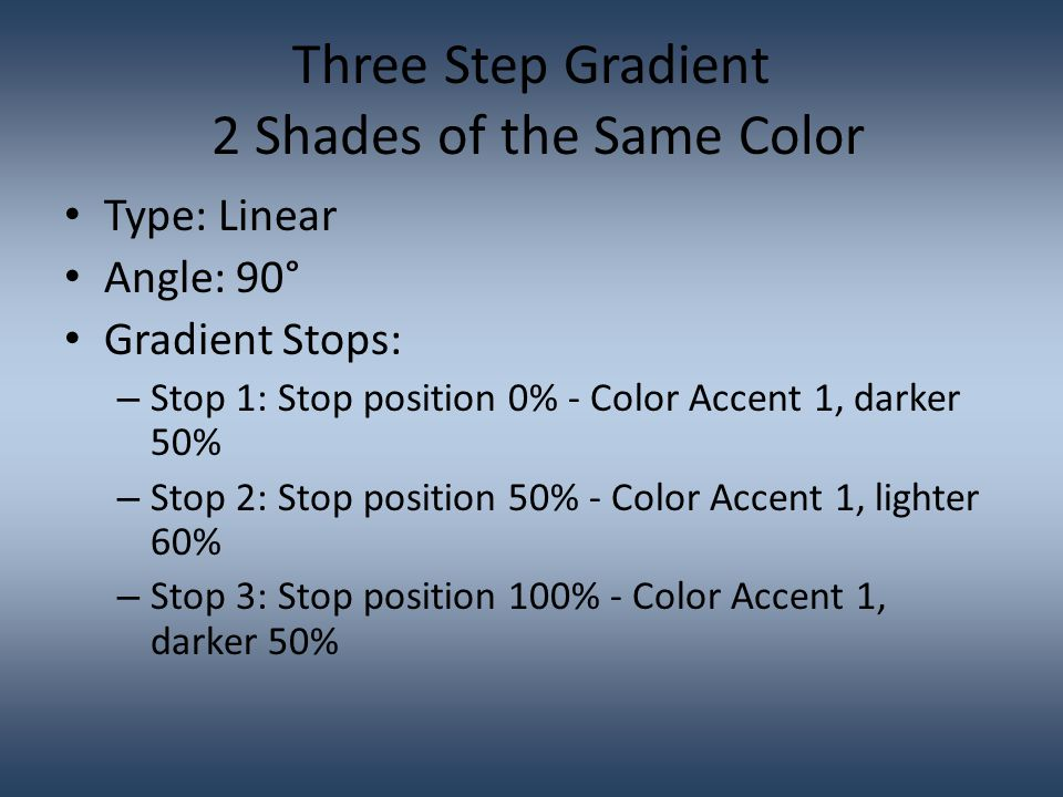 Three Step Gradient 3 Colors – Same Shade Type: Linear Angle: 90° Gradient Stops: – Stop 1: Stop position 0% - Color Accent 1, lighter 60% – Stop 2: Stop position 50% - Color Accent 2, lighter 60% – Stop 3: Stop position 100% - Color Accent 3, lighter 60%