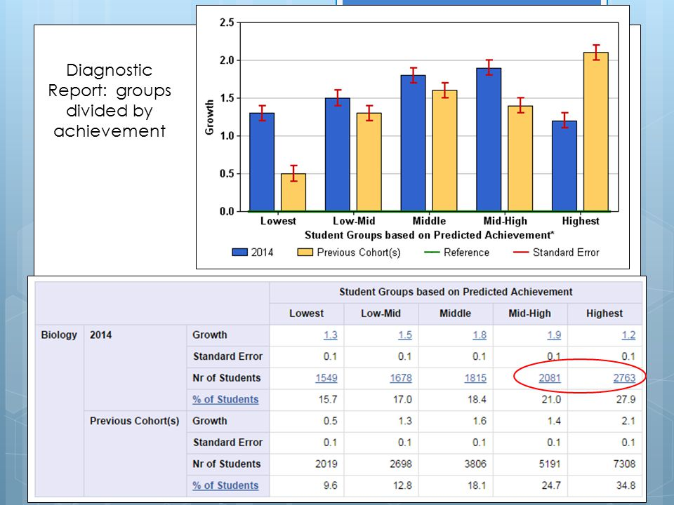 Diagnostic Report: groups divided by achievement