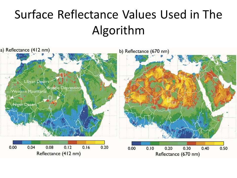 Surface Reflectance Values Used in The Algorithm