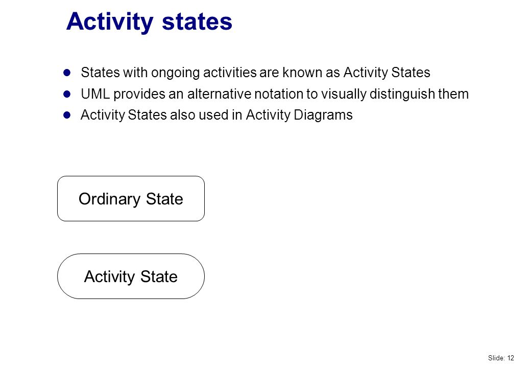 Activity states Activity State Ordinary State States with ongoing activities are known as Activity States UML provides an alternative notation to visually distinguish them Activity States also used in Activity Diagrams Slide: 12