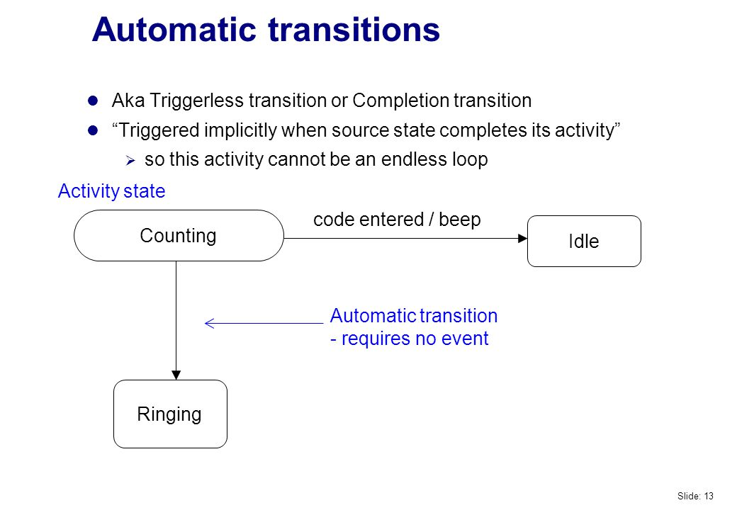 Automatic transitions Idle Ringing code entered / beep Aka Triggerless transition or Completion transition Triggered implicitly when source state completes its activity  so this activity cannot be an endless loop Counting Automatic transition - requires no event Activity state Slide: 13