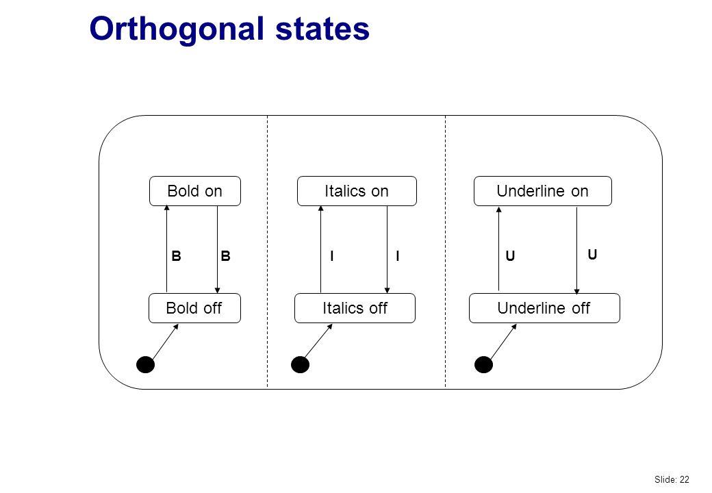 Orthogonal states Bold on Underline on Bold off Italics on Italics off Underline off BBIIU U Slide: 22