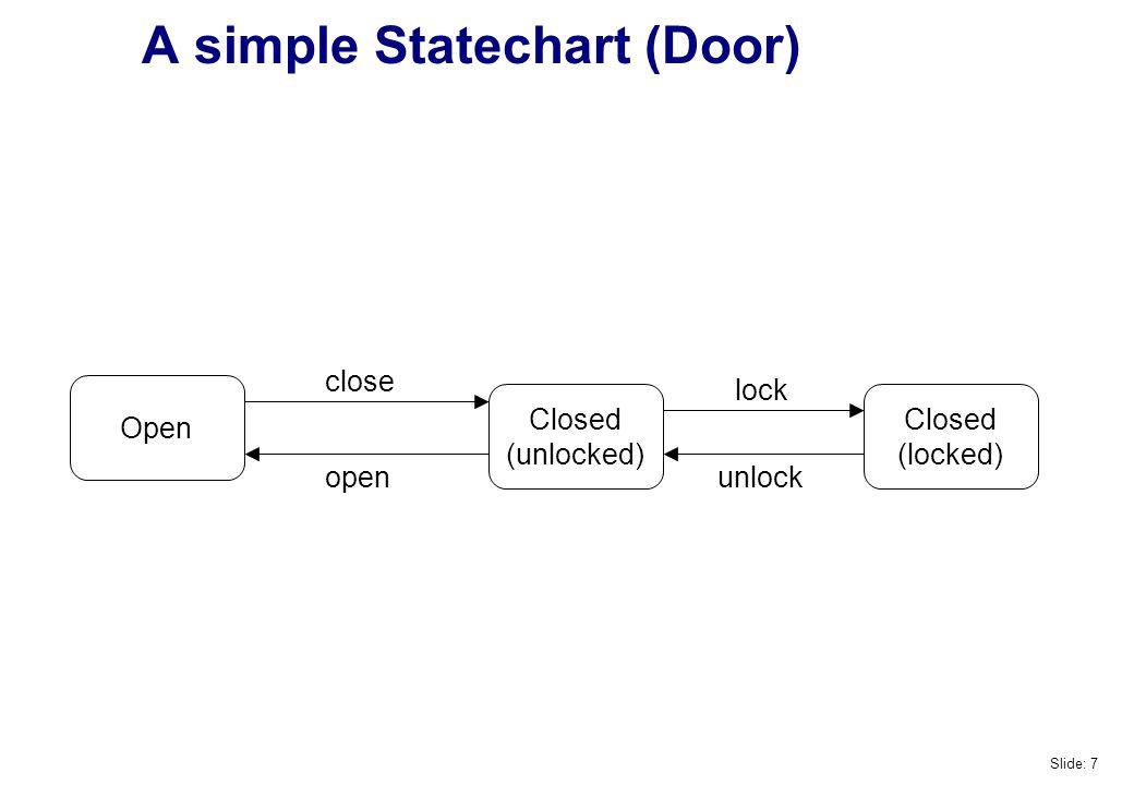 A simple Statechart (Door) Open Closed (unlocked) Closed (locked) close open lock unlock Slide: 7