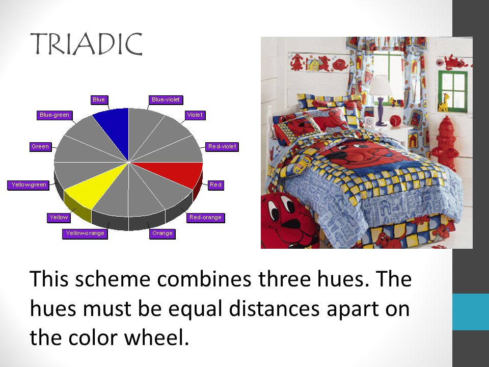 TRIADIC This scheme combines three hues. The hues must be equal distances apart on the color wheel.