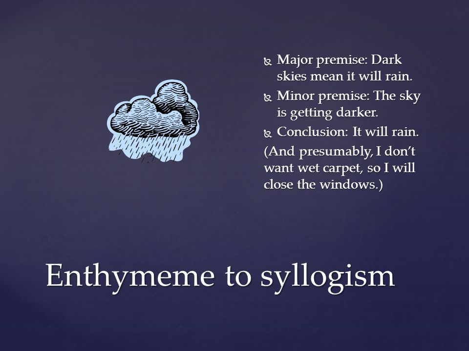 Enthymeme to syllogism  Major premise: Dark skies mean it will rain.