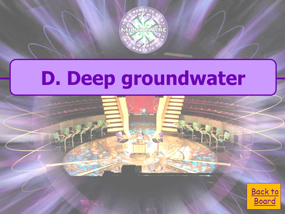  A. biosphere A. biosphere  D. deep groundwater D. deep groundwater In what reservoir does water reside for the longest time?  C. ocean C. ocean 