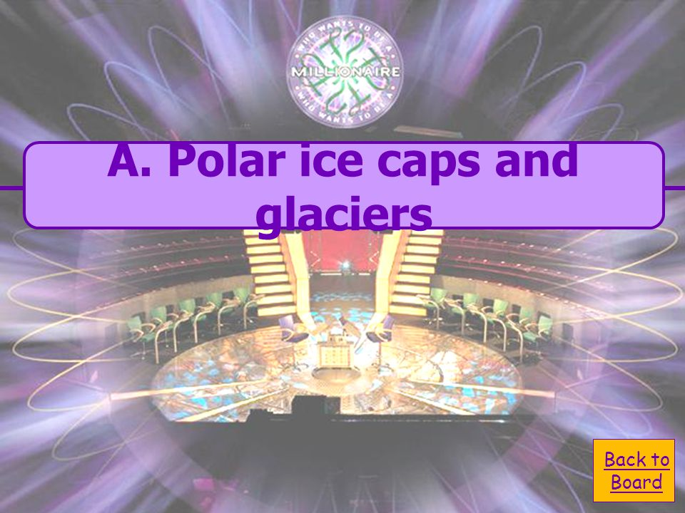  A. polar ice caps and A. polar ice caps and glaciers Where is most of Earth's freshwater.