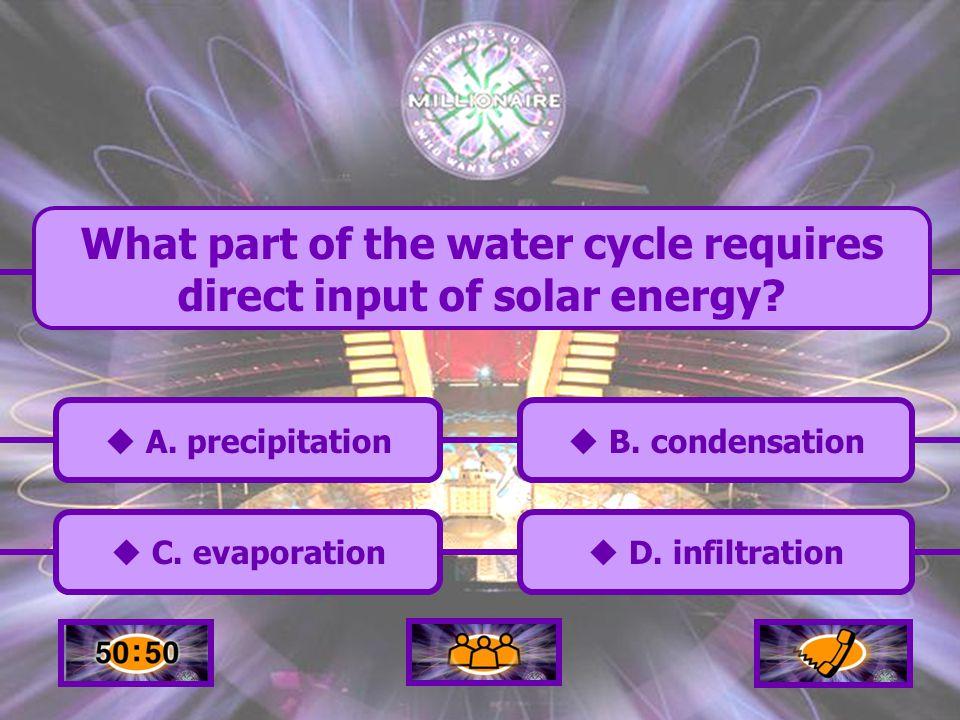  A.precipitation A. precipitation  C. evaporation C.