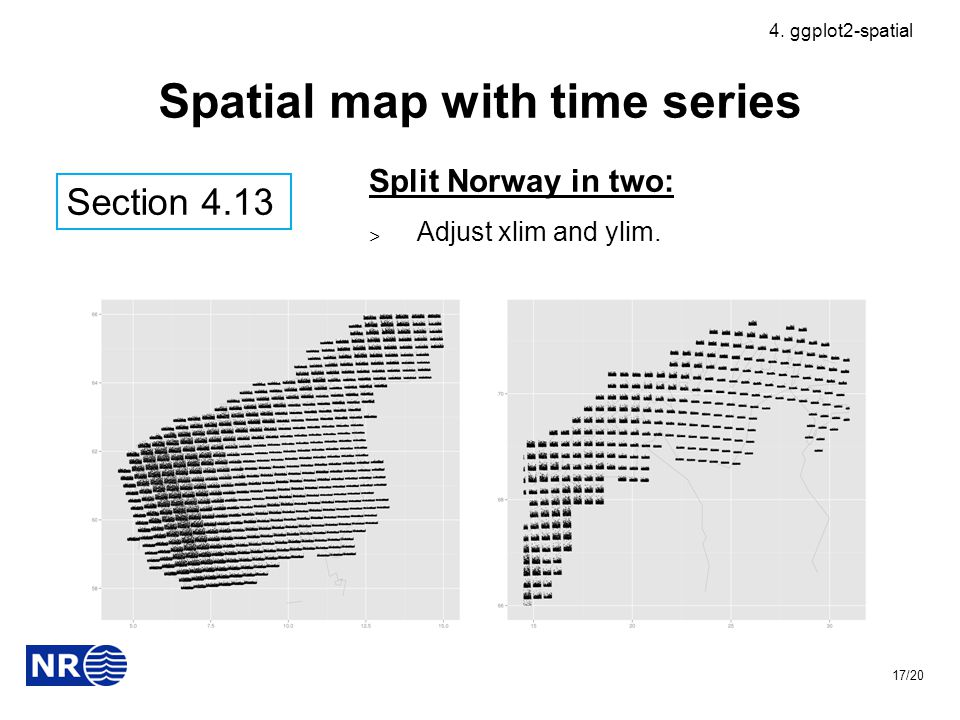Spatial map with time series Split Norway in two: ˃ Adjust xlim and ylim.