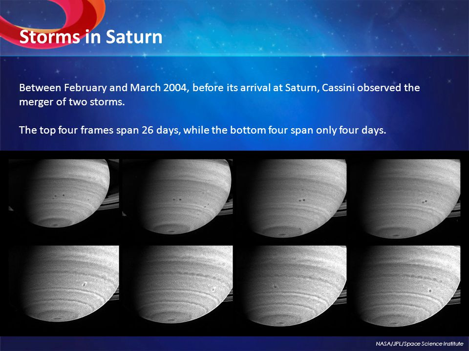 Between February and March 2004, before its arrival at Saturn, Cassini observed the merger of two storms.